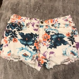 Free People Floral Ripped Shorts